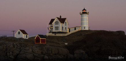 Close up of Nubble with lights