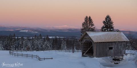 Winter Sunrise on Mansfield with Bridge