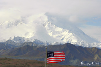 #Denali Mtn Alaska with Flag