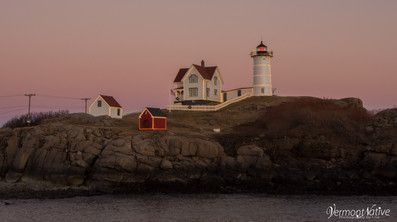 Nubble with Pink Sky and Lights
