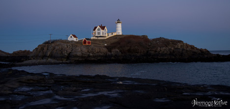 Nubble on Island with Lights