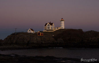 Nubble sitting on Island in Lights