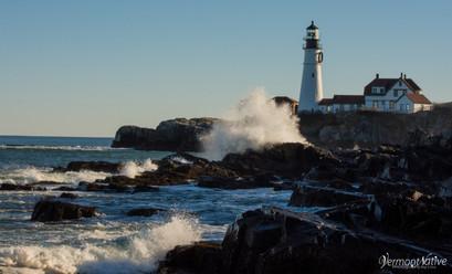 Portland Head with waves crashing