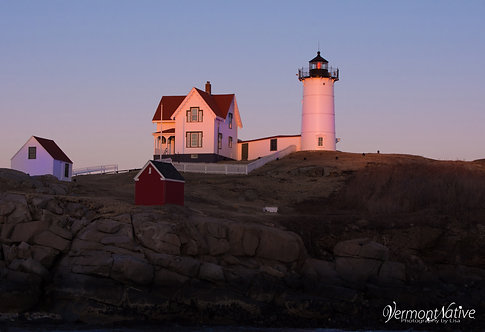Bright Pink Sunset hitting Nubble Lighthouse