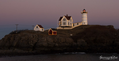 Nubble with Lights and Pink Sky