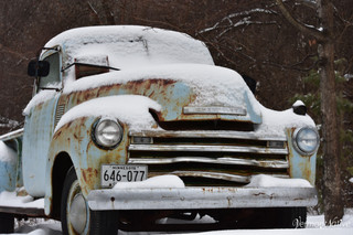 Old Chevy Truck with Snow