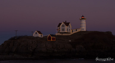 Close up of Nubble in Lights