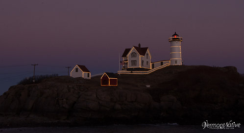 Close-up of Nubble with Lights