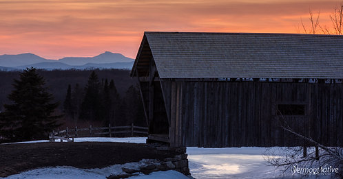 Foster Bridge with Camel's Hump at Sunset