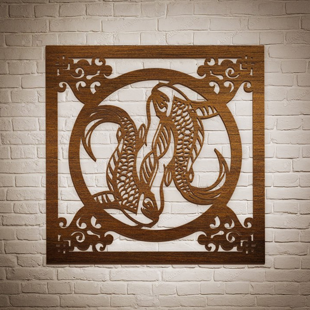 Decorative-wooden-Fishes-Wall-Art