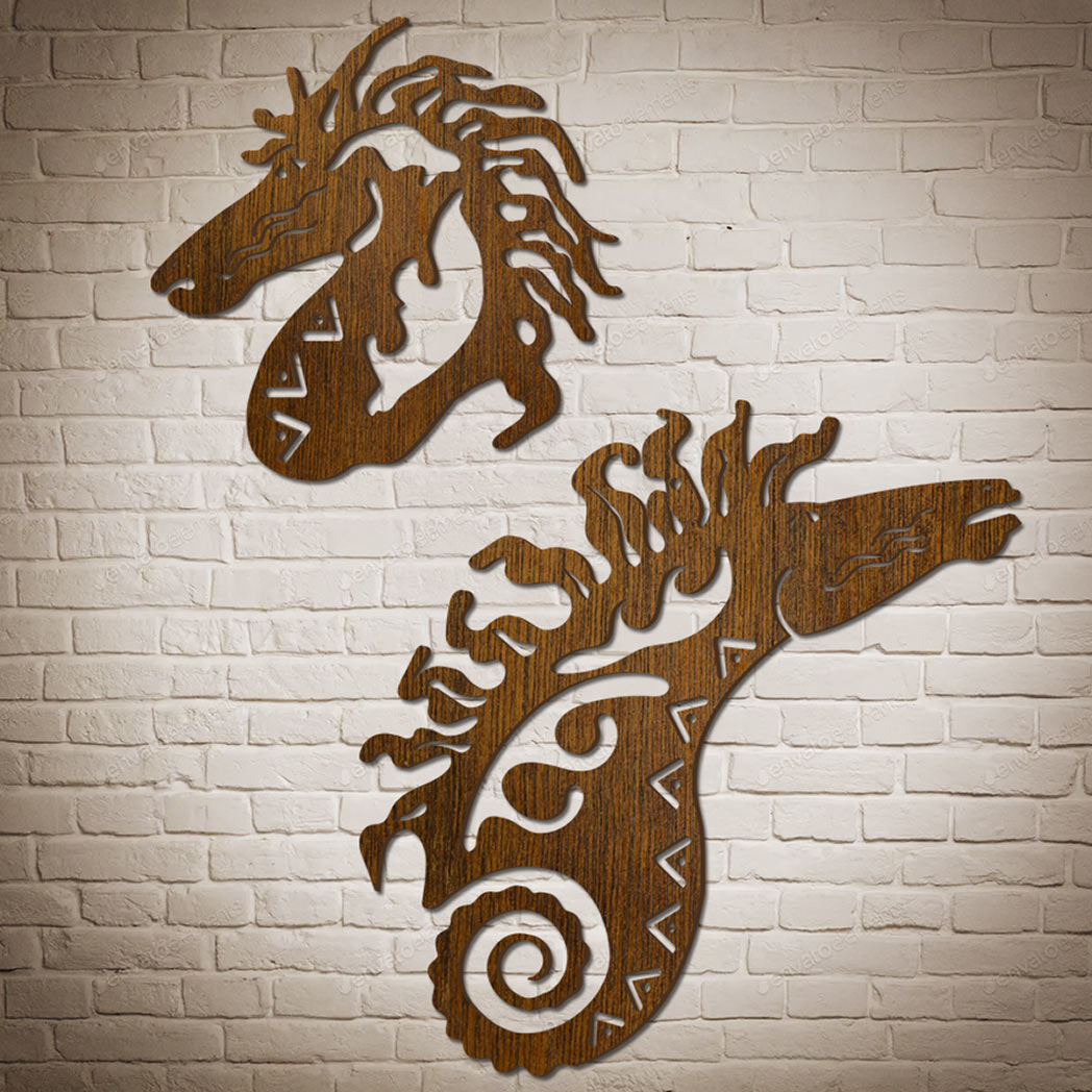 Decorative-wooden-horse-Wall-Art