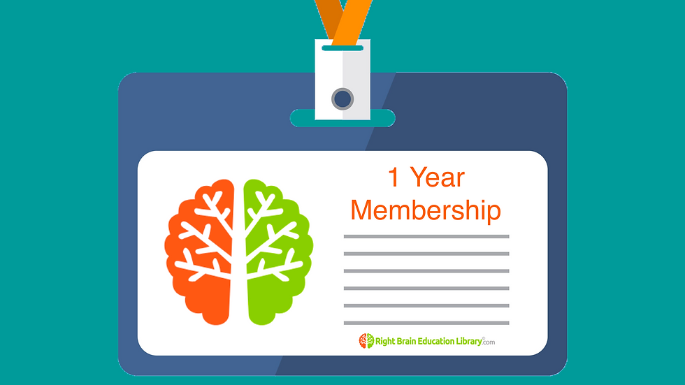 1 Year Right Brain Education Library.Com Membership