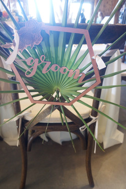 Hexigon Groom Chair Sign