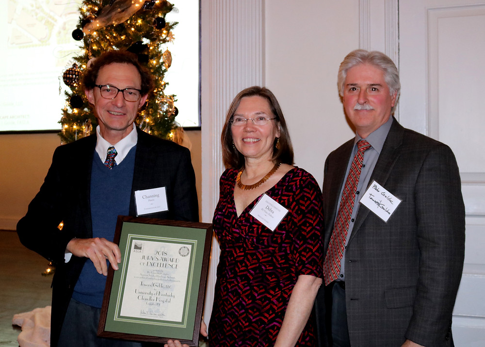 Channing Harris and Robert Golde accepting the Jury's Award of Excellence from CTASLA President Debra DeVries-Dalton