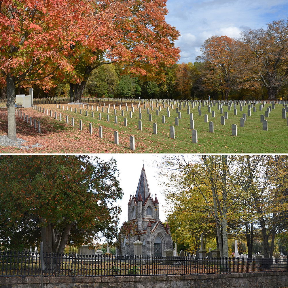 Top: Midletown CT Valley Hospital Cemetery, Below: Stonington Evergreen Cemetery