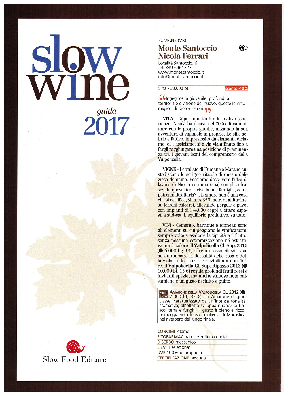 montesantoccio awards slow wine