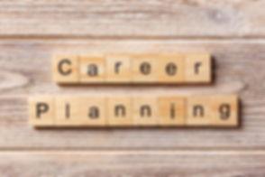 career planning word written on wood blo