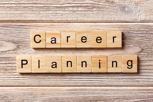 career planning word written on wood blo