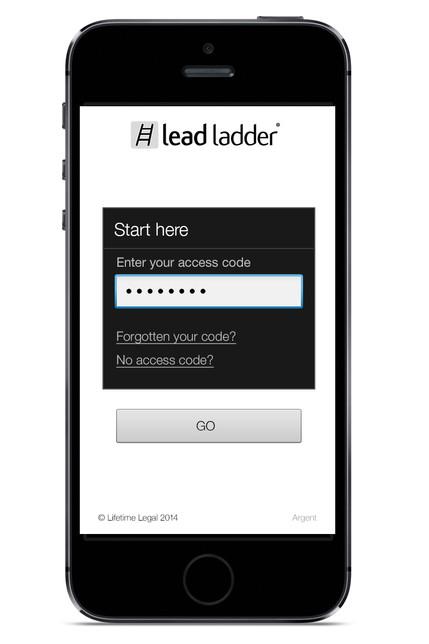 Leadladder phone app - Login page