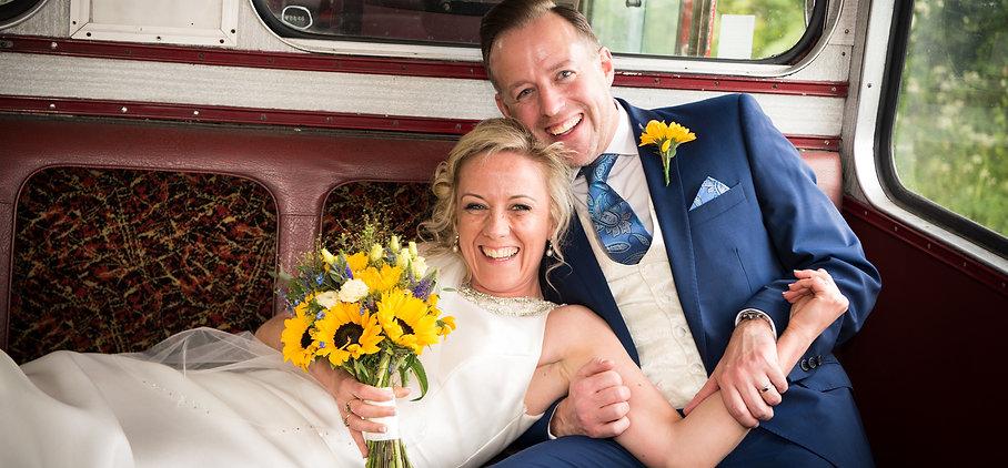 Wedding couple on London bus