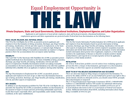 equal employment opportunity is the law.