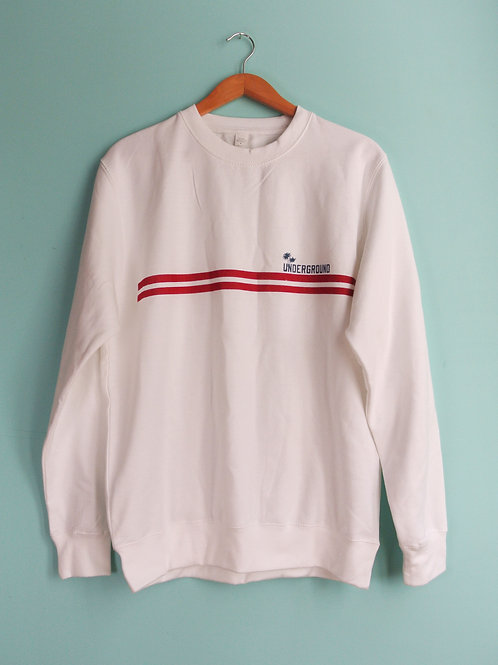 Crew Neck Sweat With Sporty Stripe Print in White