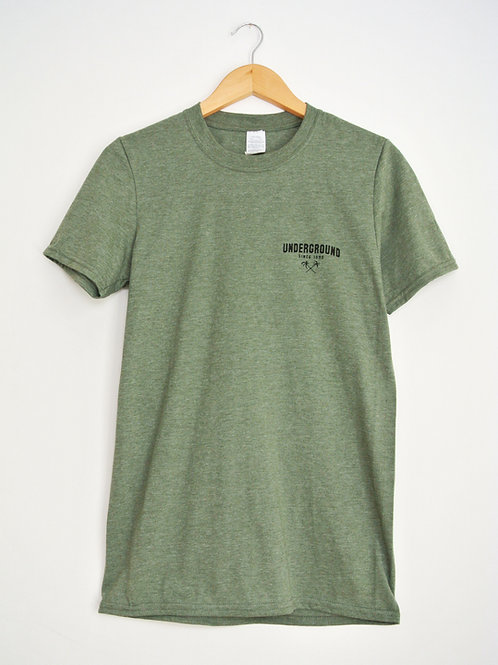 Tee With Classic Palm Print in Heather Green