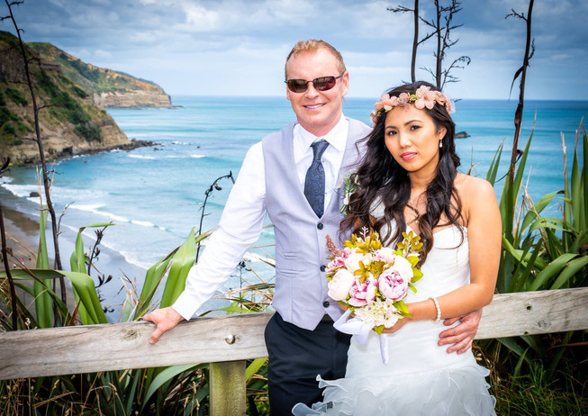 Wedding Photoshoot at Muriwai Beach Auckland New Zealand