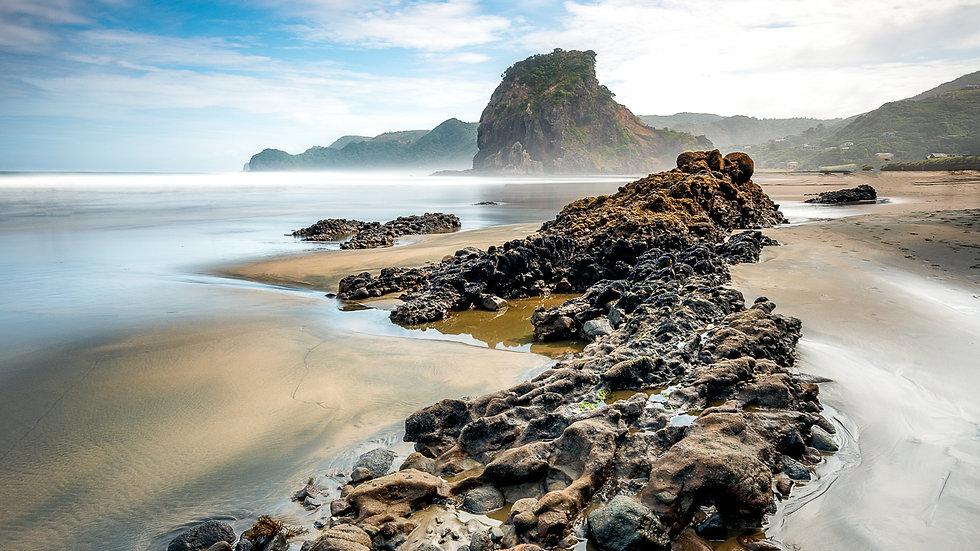 Piha Beach with Lion Rock
