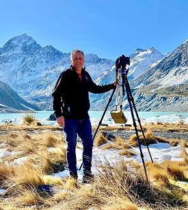 Photographer Michael Schollum shooting landscape photography at Mount Cook Tasman Lake Glaciers