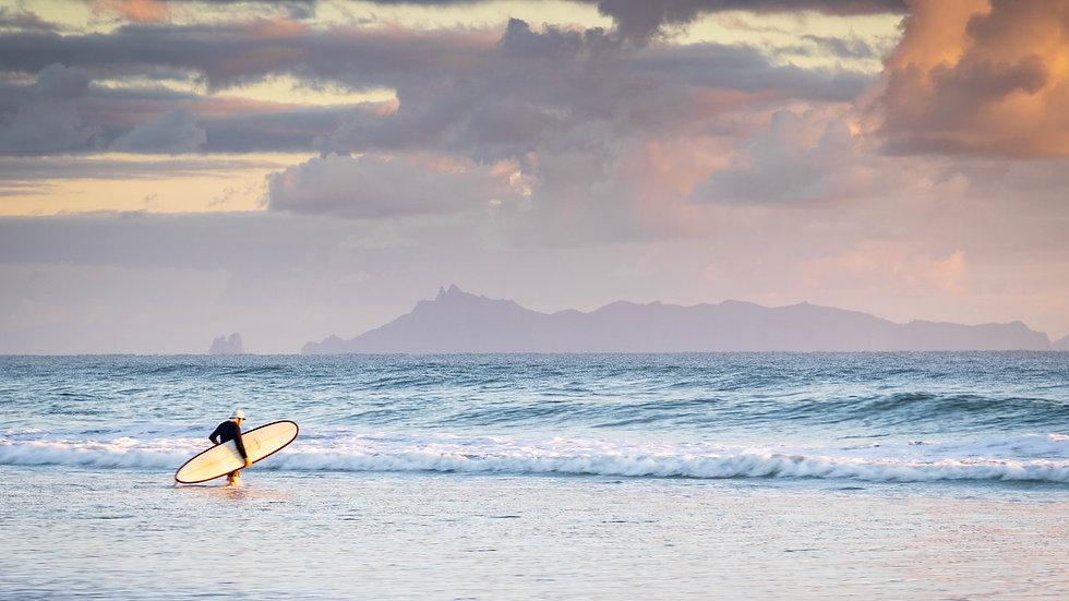Pakiri Beach - North Island - New Zealand - Early Sunrise Surfer
