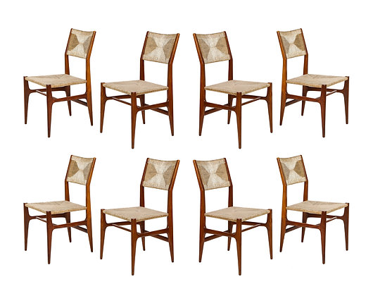 (#1925) Set of 8 Side Chairs by Gio Ponti for M. Singer & Sons