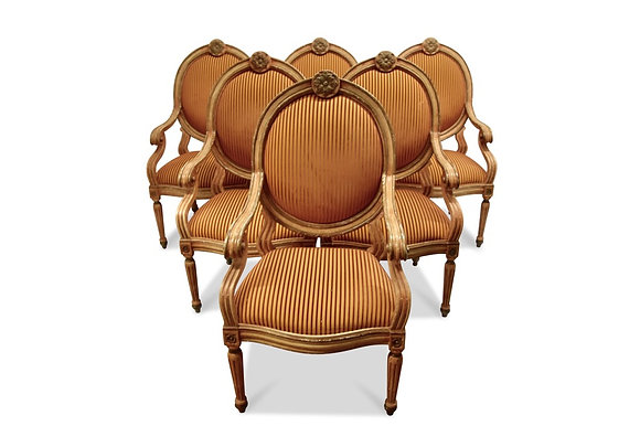 (#1453) Set of 6 Venetian Arm Chairs