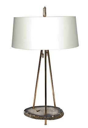 (#1881) Table Lamp with Brazilian Agate Base by Studio Greytak