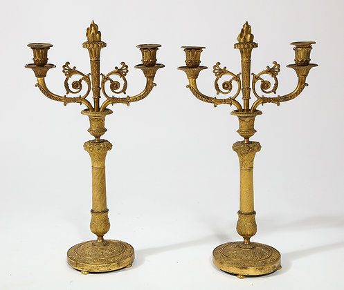 (#1973) Pair of French Empire Bronze 2 Arm Candelabra