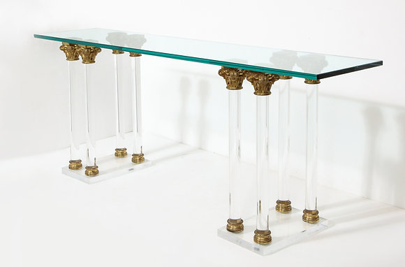 (#2147) Lucite and Bronze Console Table, Attr: Maison Jansen
