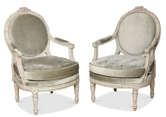 (#1500) Pair of Italian Neo-Classic Painted Open Arm Chairs
