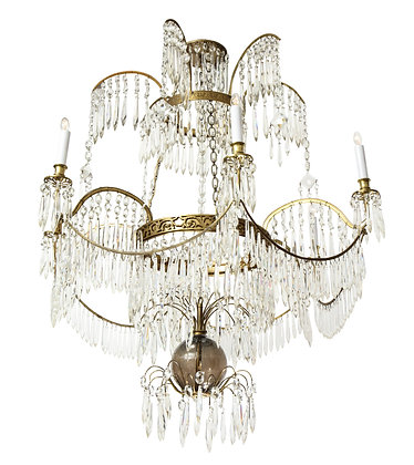 (#1472) A Superb Baltic Ormolu and Crystal Six Light Chandelier