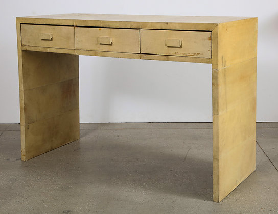 (#2109) French Parchment Covered Desk, in the manner of Jean-Michel Frank