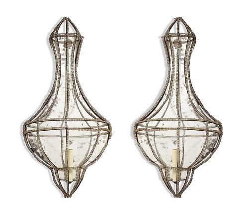(#1372) Pair of Venetian Crystal Wall Lights