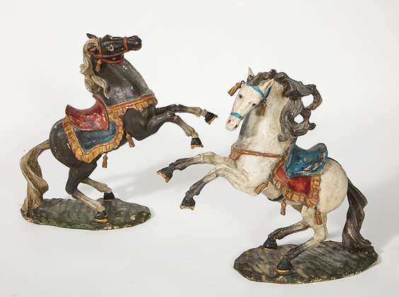 (#1963) Pair of 18th Century Italian Carved Fruitwood Polychrome Horses