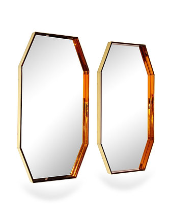 (#2355) Pair of Octagonal Wall Mirrors by Fontana Arte