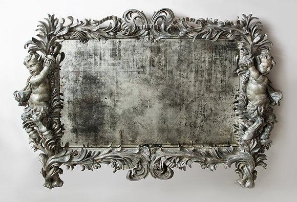 (#2164) Silver Gilt Rococo Mirror