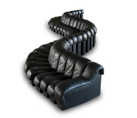 (#1376) A 46 Piece Black Leather De Sede DS 600 Non-Stop Sectional Leather Sofa