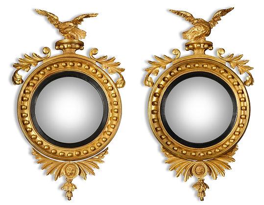 (#1631) Pair of Regency Giltwood Convex Mirrors