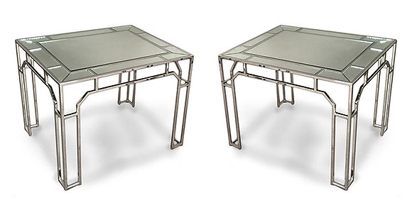 (#1094) Pair of Chrome and Mirrored Tables by Milo Baughman