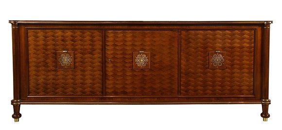 (#1946) Walnut Marquetry Sideboard, Signed Jules Leleu, 1945