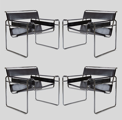 """(#2046) Set of Four Marcel Breuer """"Wassily"""" Chairs in Chrome and Black Leather"""