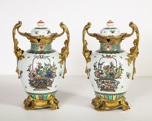 (#2056) Pair of Louis XVI Style Chinese Porcelain Urns with  Ormolu Mounts