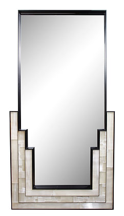 (#1749)Gypsum Inlaid with Nickel Detail Wall Mirror Designed by Drake Anderson